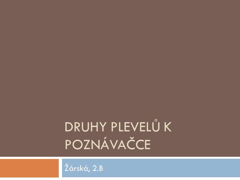 DRUHY PLEVELŮ K POZNÁVAČCE Žárská, 2.B