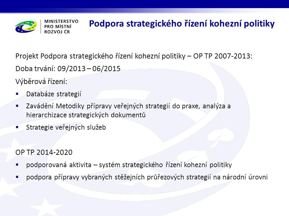 Projekt Podpora strategického řízení kohezní politiky – OP TP 2007-2013: Doba trvání: 09/2013 – 06/2015 Výběrová řízení:  Databáze strategií  Zavádění Metodiky přípravy veřejných strategií do praxe, analýza a hierarchizace strategických dokumentů  Strategie veřejných služeb OP TP 2014-2020  podporovaná aktivita – systém strategického řízení kohezní politiky  podpora přípravy vybraných stěžejních průřezových strategií na národní úrovni Podpora strategického řízení kohezní politiky