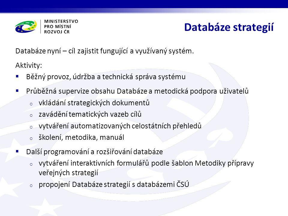Databáze nyní – cíl zajistit fungující a využívaný systém.