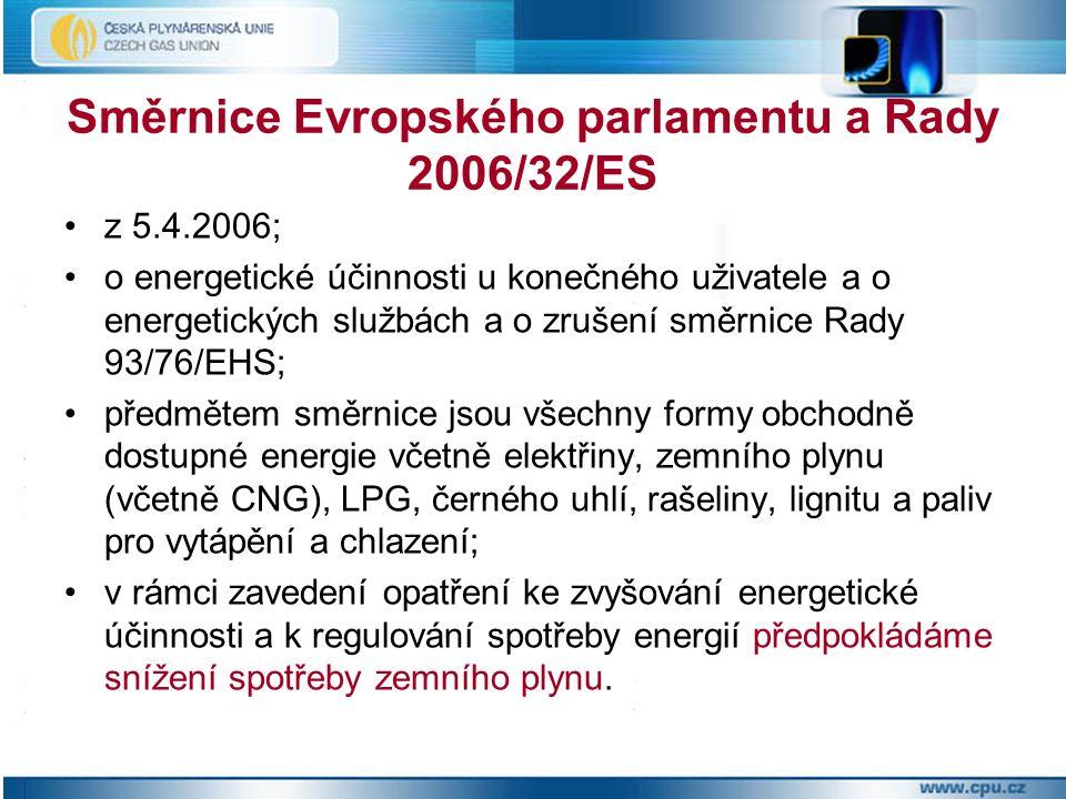 Směrnice Evropského parlamentu a Rady 2006/32/ES z 5.4.2006; o energetické účinnosti u konečného uživatele a o energetických službách a o zrušení směrnice Rady 93/76/EHS; předmětem směrnice jsou všechny formy obchodně dostupné energie včetně elektřiny, zemního plynu (včetně CNG), LPG, černého uhlí, rašeliny, lignitu a paliv pro vytápění a chlazení; v rámci zavedení opatření ke zvyšování energetické účinnosti a k regulování spotřeby energií předpokládáme snížení spotřeby zemního plynu.