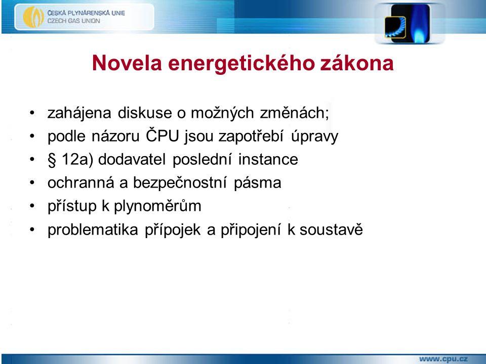 Novela energetického zákona zahájena diskuse o možných změnách; podle názoru ČPU jsou zapotřebí úpravy § 12a) dodavatel poslední instance ochranná a bezpečnostní pásma přístup k plynoměrům problematika přípojek a připojení k soustavě