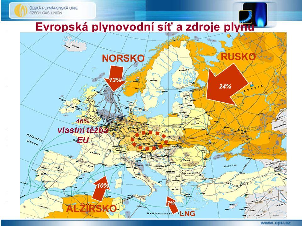 Evropská plynovodní síť a zdroje plynu RUSKO NORSKO ALŽÍRSKO LNG 24% 13% 10% 7% 46% vlastní těžba EU