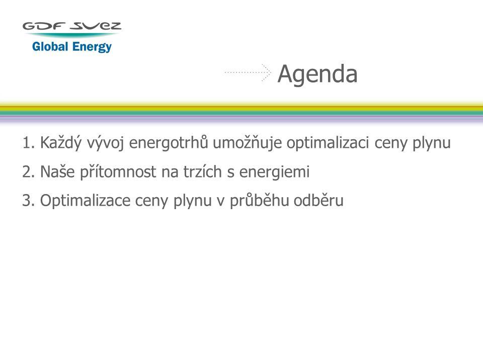 1.Každý vývoj energotrhů umožňuje optimalizaci ceny plynu 2.Naše přítomnost na trzích s energiemi 3.Optimalizace ceny plynu v průběhu odběru Agenda