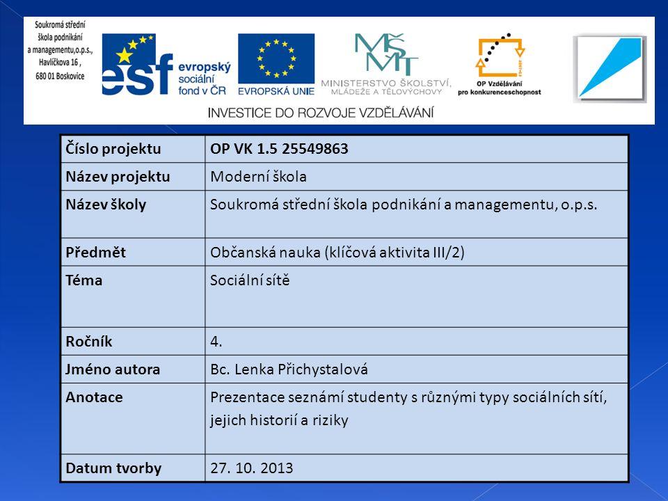 Číslo projektuOP VK 1.5 25549863 Název projektuModerní škola Název školySoukromá střední škola podnikání a managementu, o.p.s.