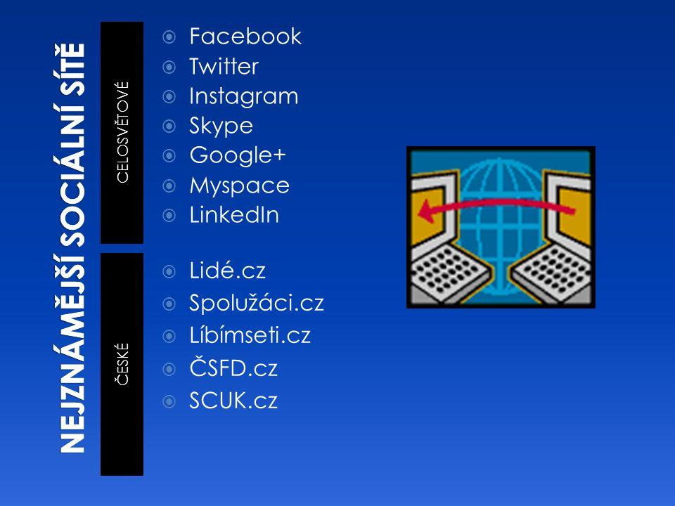 CELOSVĚTOVÉ ČESKÉ  Facebook  Twitter  Instagram  Skype  Google+  Myspace  LinkedIn  Lidé.cz  Spolužáci.cz  Líbímseti.cz  ČSFD.cz  SCUK.cz