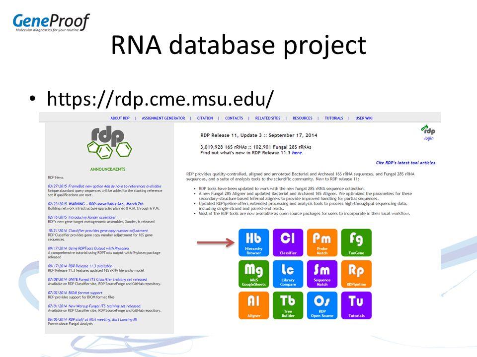 RNA database project https://rdp.cme.msu.edu/