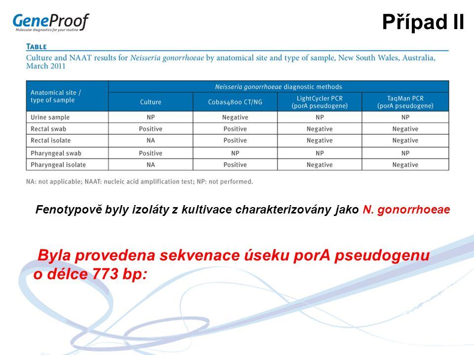 Případ II Fenotypově byly izoláty z kultivace charakterizovány jako N. gonorrhoeae Byla provedena sekvenace úseku porA pseudogenu o délce 773 bp: