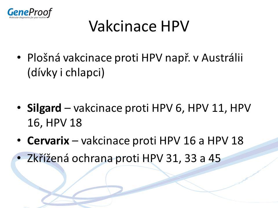 Vakcinace HPV Plošná vakcinace proti HPV např. v Austrálii (dívky i chlapci) Silgard – vakcinace proti HPV 6, HPV 11, HPV 16, HPV 18 Cervarix – vakcin