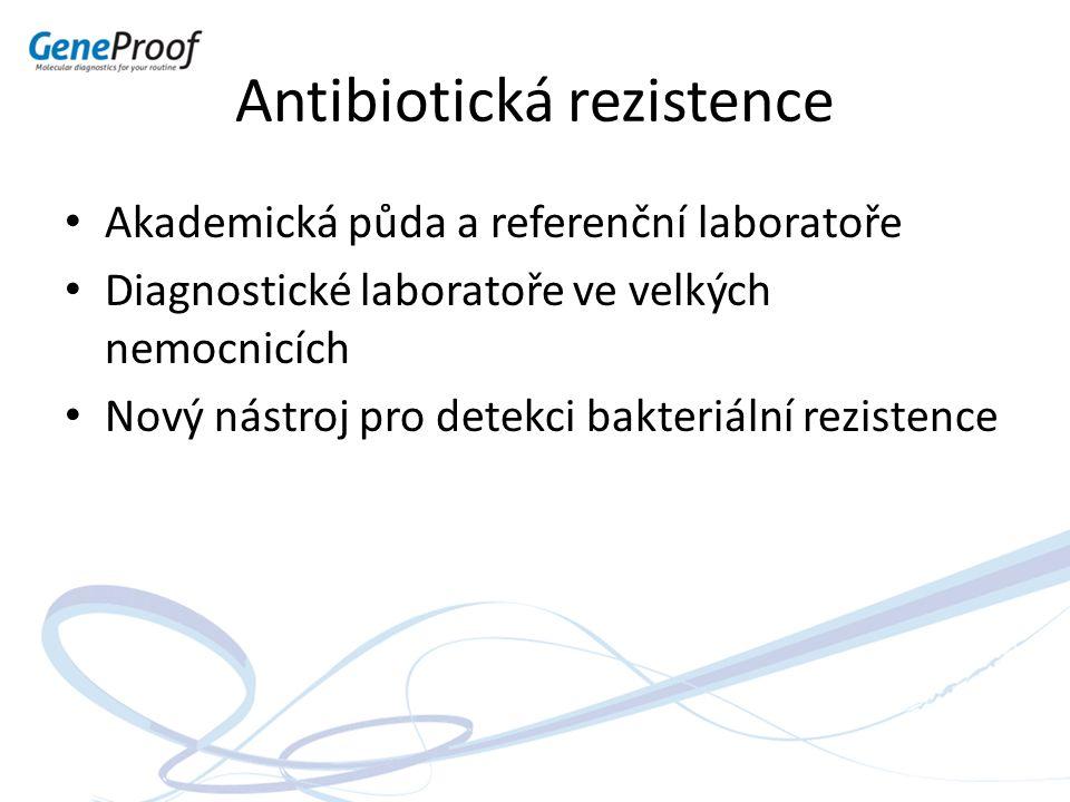 Antibiotická rezistence Akademická půda a referenční laboratoře Diagnostické laboratoře ve velkých nemocnicích Nový nástroj pro detekci bakteriální re