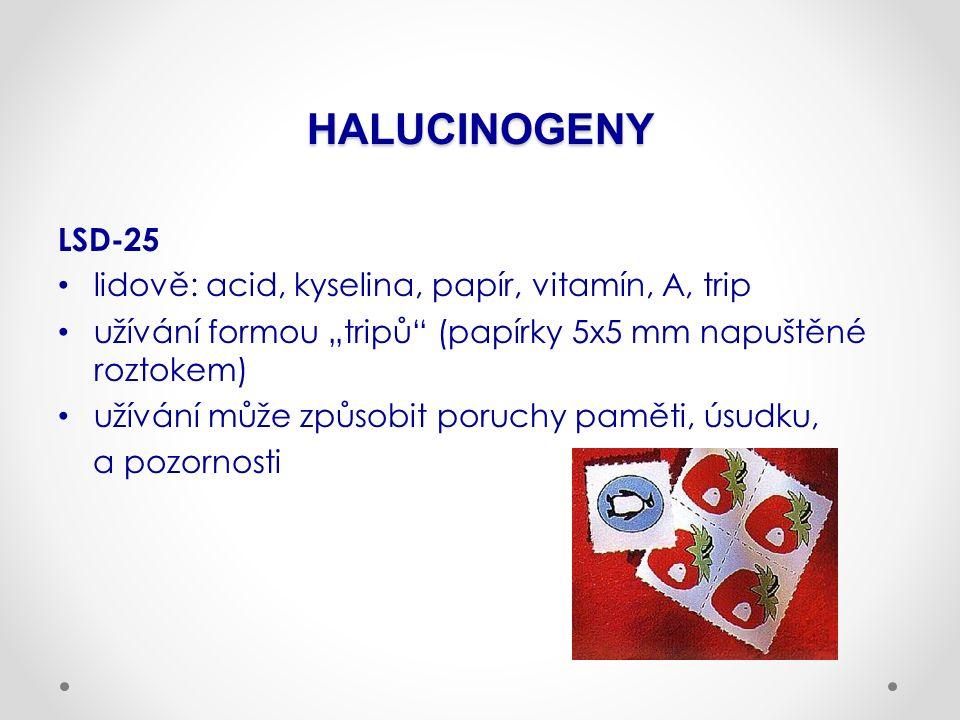 """HALUCINOGENY LSD-25 lidově: acid, kyselina, papír, vitamín, A, trip užívání formou """"tripů (papírky 5x5 mm napuštěné roztokem) užívání může způsobit poruchy paměti, úsudku, a pozornosti"""
