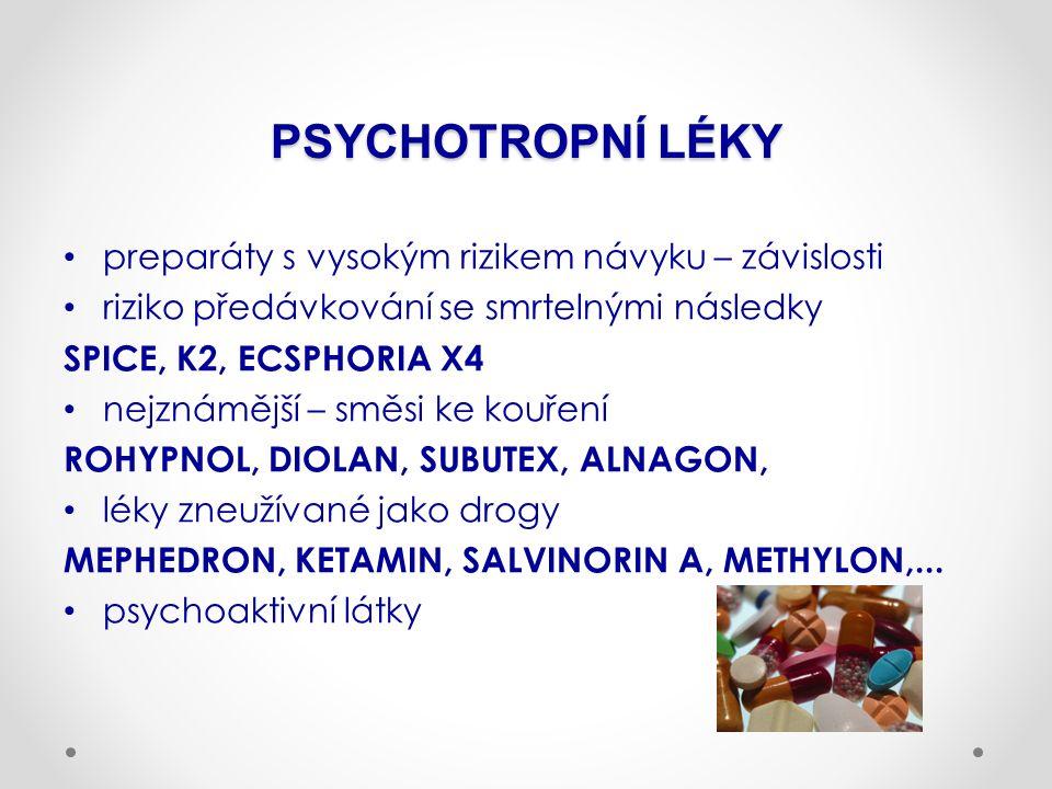 PSYCHOTROPNÍ LÉKY preparáty s vysokým rizikem návyku – závislosti riziko předávkování se smrtelnými následky SPICE, K2, ECSPHORIA X4 nejznámější – směsi ke kouření ROHYPNOL, DIOLAN, SUBUTEX, ALNAGON, léky zneužívané jako drogy MEPHEDRON, KETAMIN, SALVINORIN A, METHYLON,...