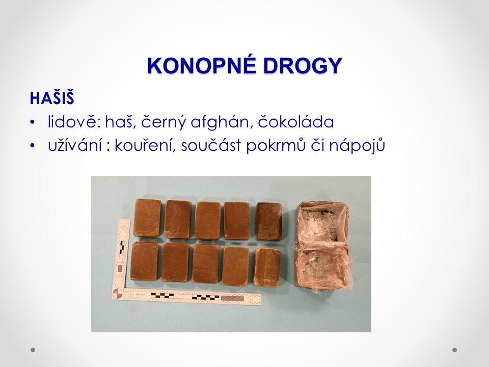 KONOPNÉ DROGY HAŠIŠ lidově: haš, černý afghán, čokoláda užívání : kouření, součást pokrmů či nápojů