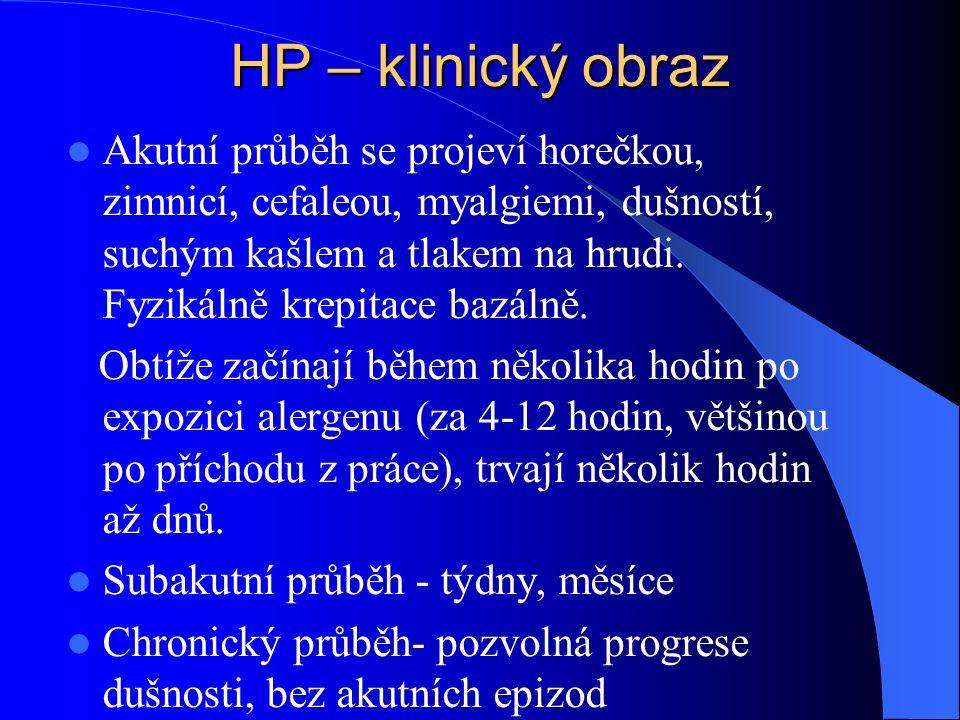 HP – klinický obraz Akutní průběh se projeví horečkou, zimnicí, cefaleou, myalgiemi, dušností, suchým kašlem a tlakem na hrudi.