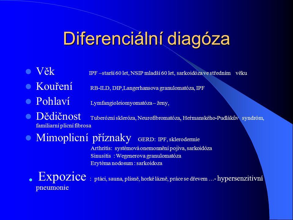 Diferenciální diagóza Věk IPF –starší 60 let, NSIP mladší 60 let, sarkoidóza ve středním věku Kouření RB-ILD, DIP,Langerhansova granulomatóza, IPF Pohlaví Lymfangioleiomyomatóza – ženy, Dědičnost Tuberózní skleróza, Neurofibromatóza, Heŕmanského-Pudlákův syndróm, familiarní plicní fibrosa Mimoplicní příznaky GERD: IPF, sklerodermie Arthritis: systémová onemonnění pojiva, sarkoidóza Sinusitis : Wegenerova granulomatóza Erytéma nodosum : sarkoidoza Expozice : ptáci, sauna, plísně, horké lázně, práce se dřevem …- hypersenzitivní pneumonie