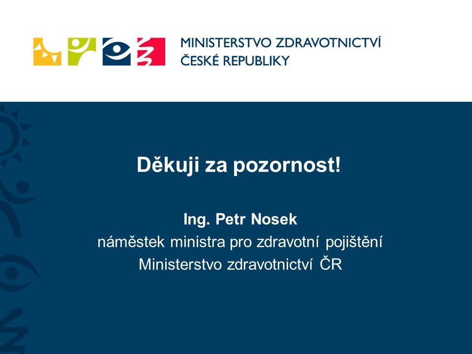 Děkuji za pozornost! Ing. Petr Nosek náměstek ministra pro zdravotní pojištění Ministerstvo zdravotnictví ČR