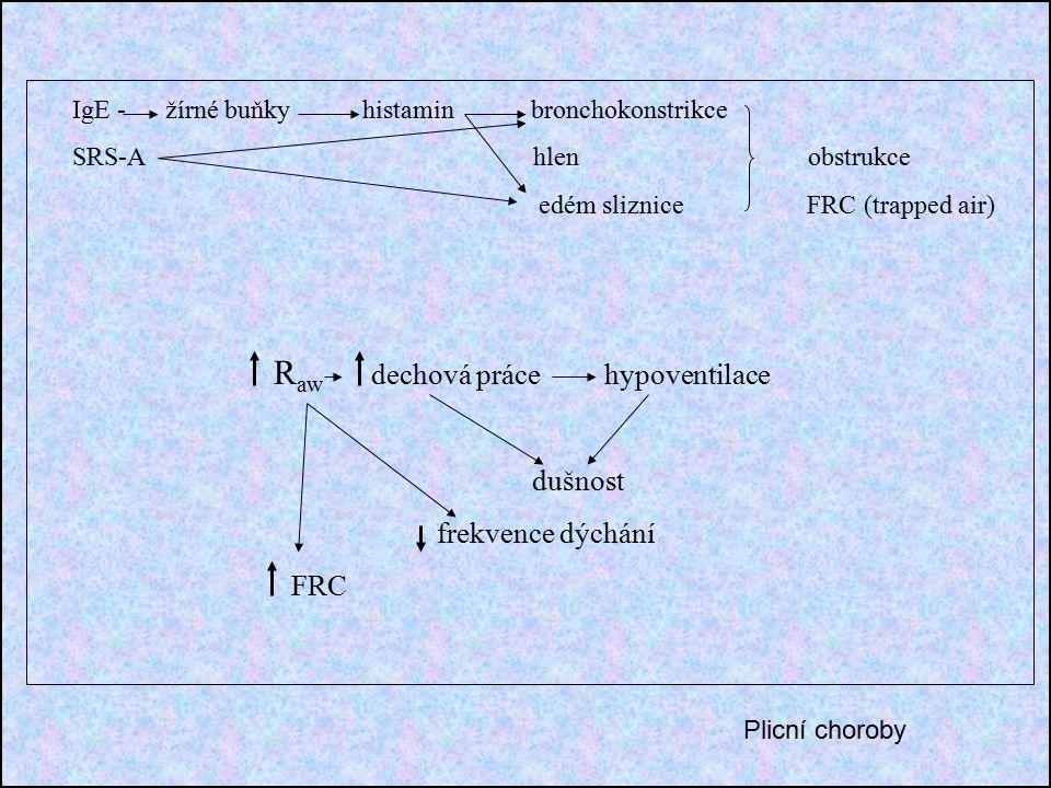 IgE - žírné buňky histamin bronchokonstrikce SRS-A hlen obstrukce edém sliznice FRC (trapped air) R aw dechová práce hypoventilace dušnost frekvence dýchání FRC Plicní choroby