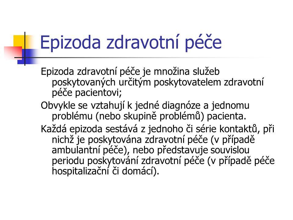 Epizoda zdravotní péče Epizoda zdravotní péče je množina služeb poskytovaných určitým poskytovatelem zdravotní péče pacientovi; Obvykle se vztahují k
