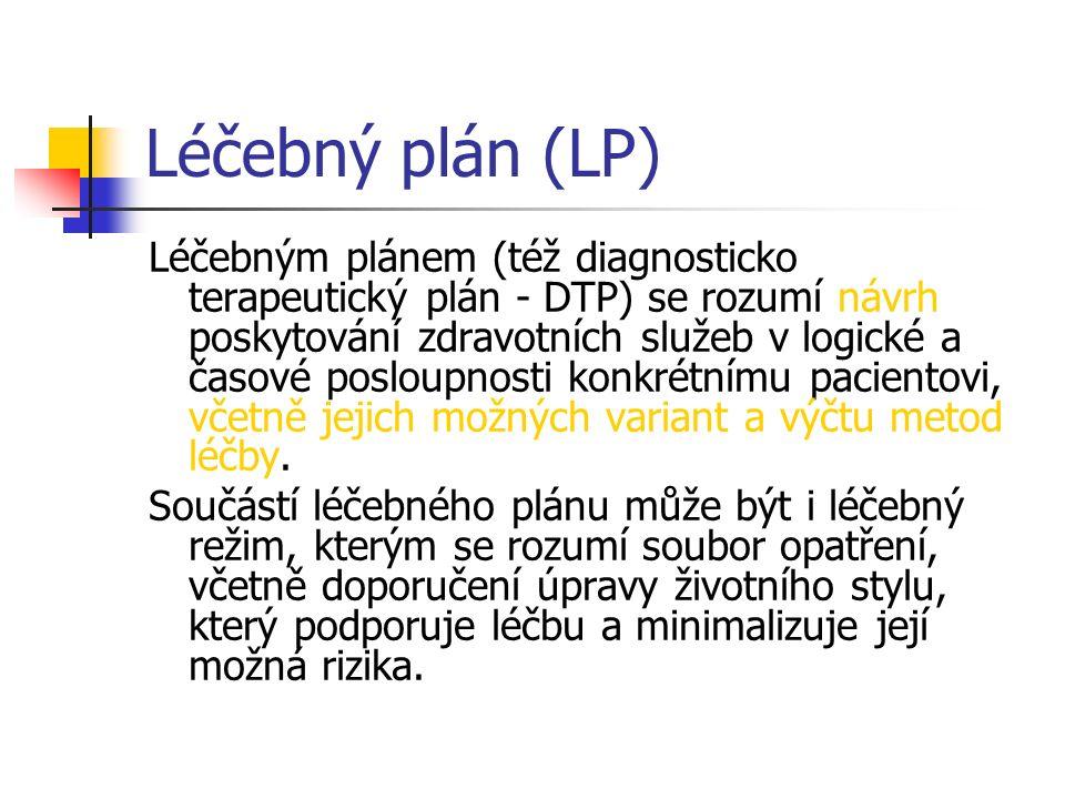 Léčebný plán (LP) Léčebným plánem (též diagnosticko terapeutický plán - DTP) se rozumí návrh poskytování zdravotních služeb v logické a časové posloup