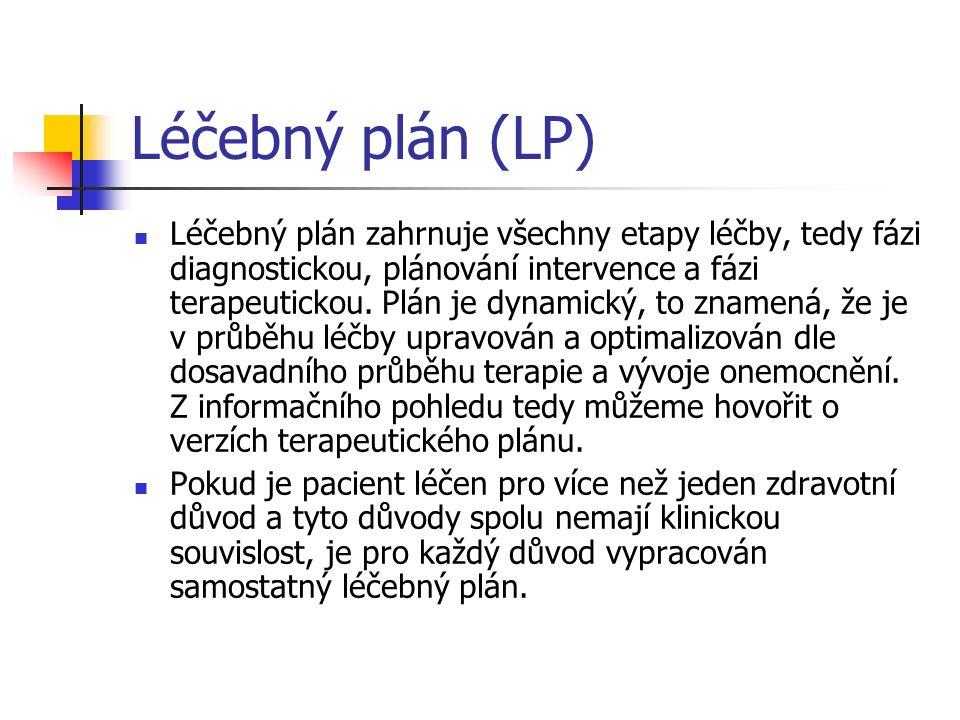 Léčebný plán (LP) Léčebný plán zahrnuje všechny etapy léčby, tedy fázi diagnostickou, plánování intervence a fázi terapeutickou. Plán je dynamický, to