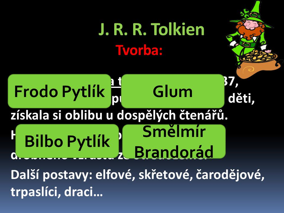 J.R. R. Tolkien Tvorba: Hobiti vystupují také v Pánu prstenů (1954 – 55).