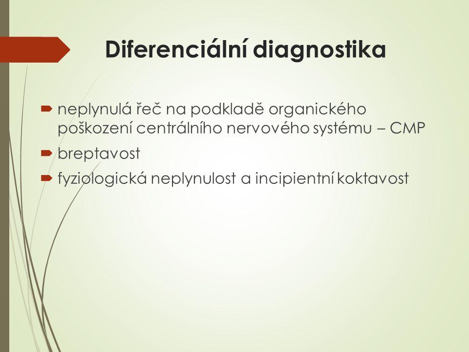 Diferenciální diagnostika  neplynulá řeč na podkladě organického poškození centrálního nervového systému – CMP  breptavost  fyziologická neplynulos