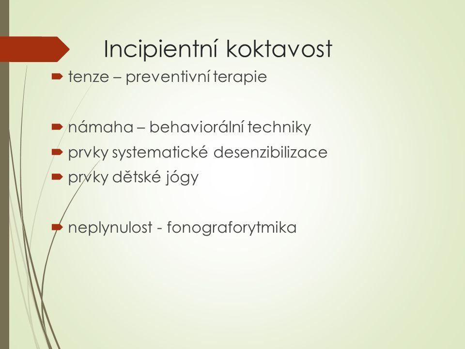 Incipientní koktavost  tenze – preventivní terapie  námaha – behaviorální techniky  prvky systematické desenzibilizace  prvky dětské jógy  neplyn