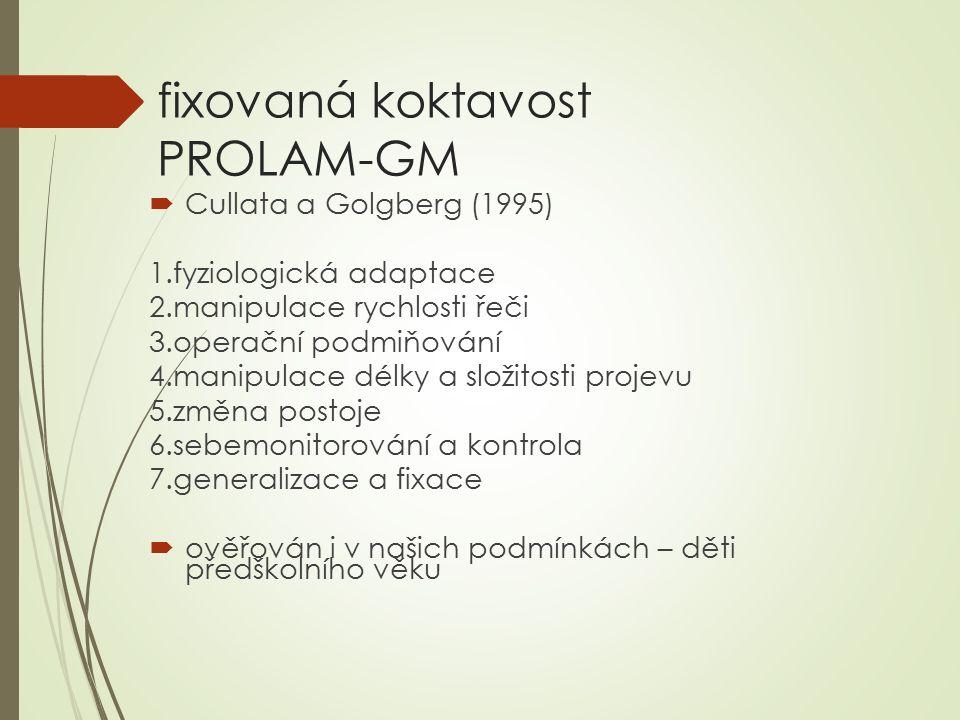 fixovaná koktavost PROLAM-GM  Cullata a Golgberg (1995) 1.fyziologická adaptace 2.manipulace rychlosti řeči 3.operační podmiňování 4.manipulace délky