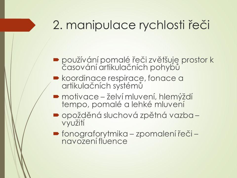 2. manipulace rychlosti řeči  používání pomalé řeči zvětšuje prostor k časování artikulačních pohybů  koordinace respirace, fonace a artikulačních s