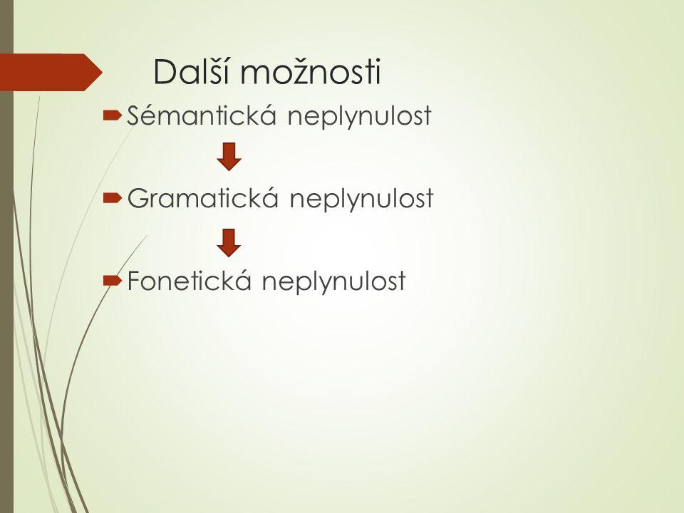 Další možnosti  Sémantická neplynulost  Gramatická neplynulost  Fonetická neplynulost