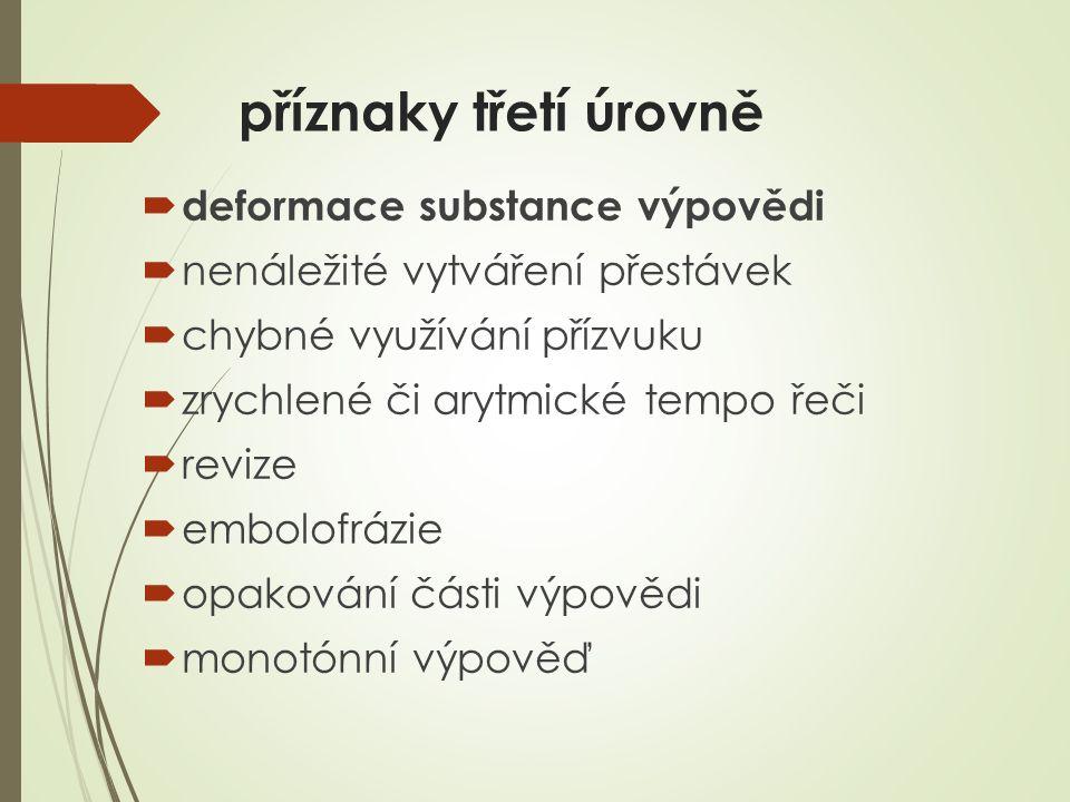 příznaky třetí úrovně  deformace substance výpovědi  nenáležité vytváření přestávek  chybné využívání přízvuku  zrychlené či arytmické tempo řeči