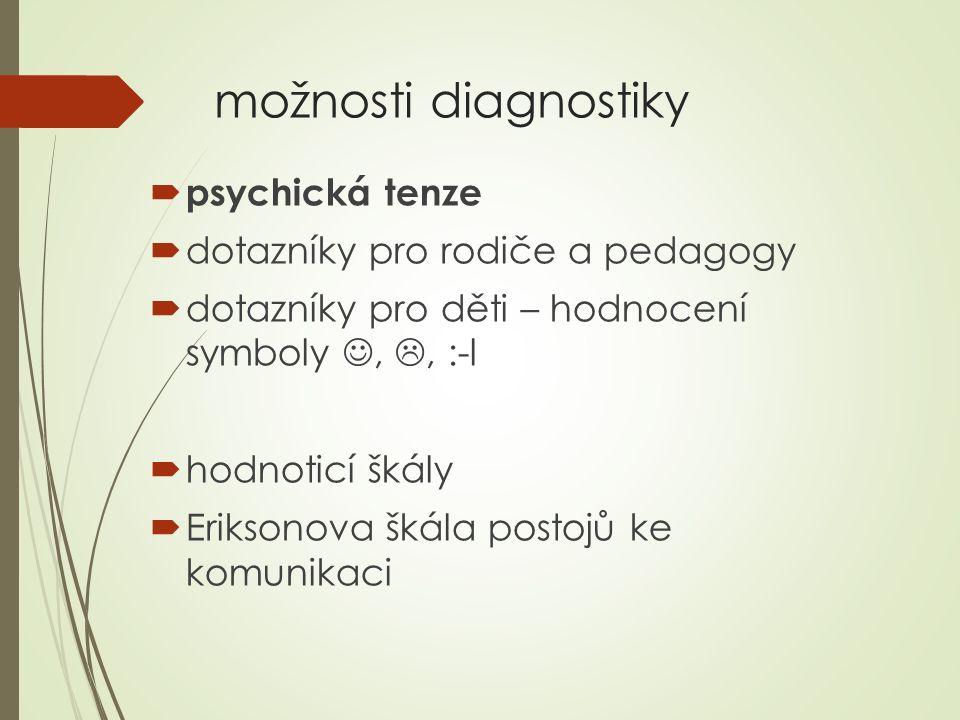 možnosti diagnostiky  psychická tenze  dotazníky pro rodiče a pedagogy  dotazníky pro děti – hodnocení symboly, , :-l  hodnoticí škály  Eriksono