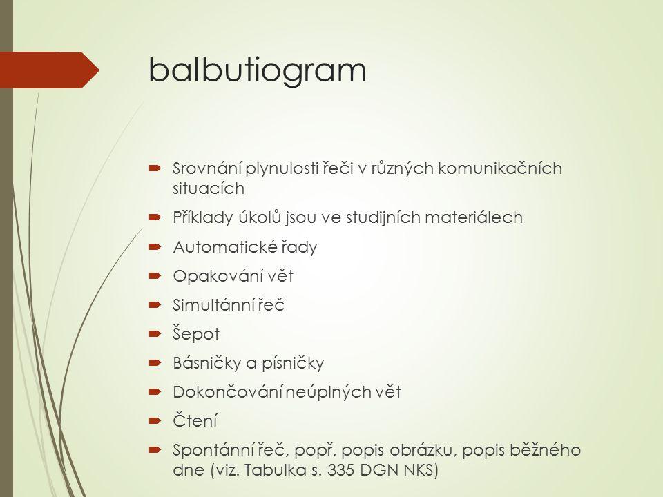 balbutiogram  Srovnání plynulosti řeči v různých komunikačních situacích  Příklady úkolů jsou ve studijních materiálech  Automatické řady  Opaková