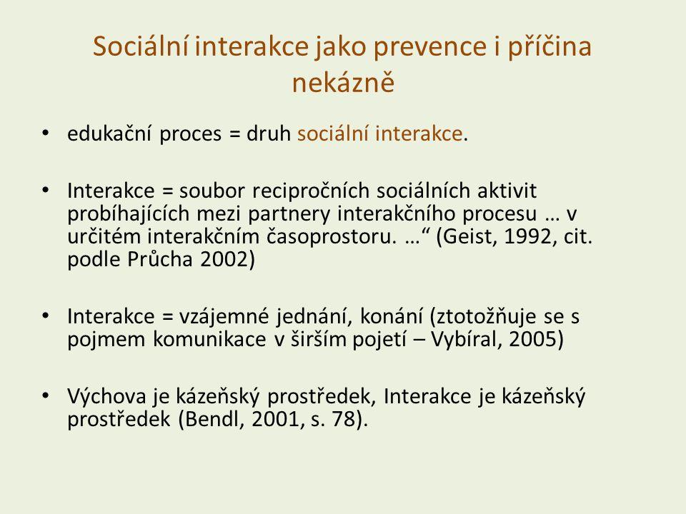 Sociální interakce jako prevence i příčina nekázně edukační proces = druh sociální interakce.