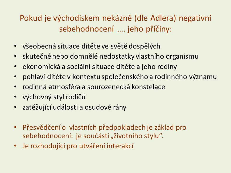 Pokud je východiskem nekázně (dle Adlera) negativní sebehodnocení ….