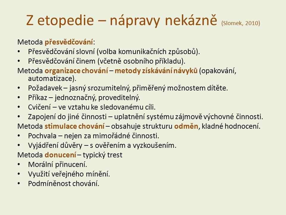 Z etopedie – nápravy nekázně (Slomek, 2010) Metoda přesvědčování: Přesvědčování slovní (volba komunikačních způsobů).