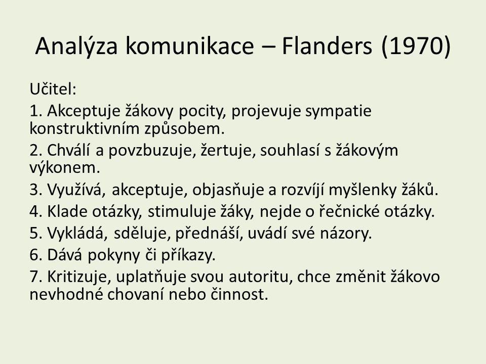 Analýza komunikace – Flanders (1970) Učitel: 1.