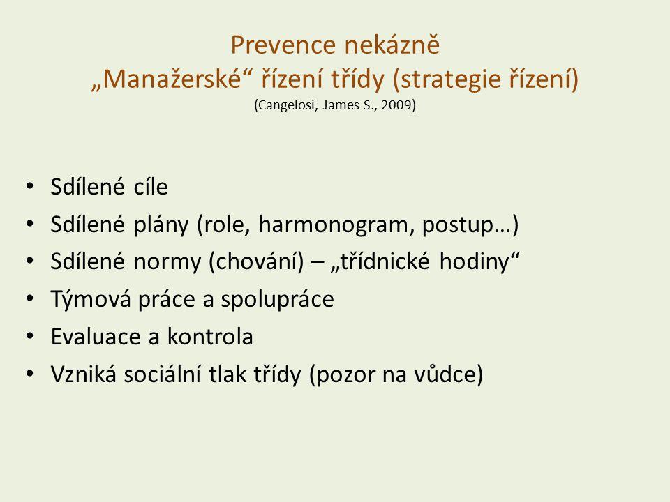 """Prevence nekázně """"Manažerské řízení třídy (strategie řízení) (Cangelosi, James S., 2009) Sdílené cíle Sdílené plány (role, harmonogram, postup…) Sdílené normy (chování) – """"třídnické hodiny Týmová práce a spolupráce Evaluace a kontrola Vzniká sociální tlak třídy (pozor na vůdce)"""