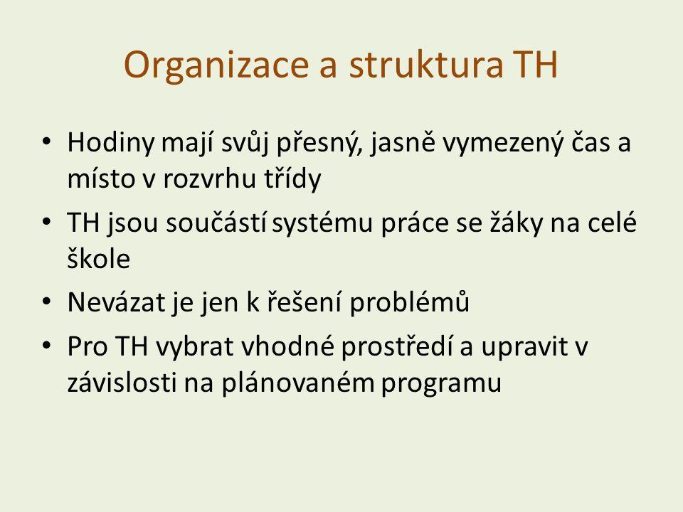 Organizace a struktura TH Hodiny mají svůj přesný, jasně vymezený čas a místo v rozvrhu třídy TH jsou součástí systému práce se žáky na celé škole Nevázat je jen k řešení problémů Pro TH vybrat vhodné prostředí a upravit v závislosti na plánovaném programu