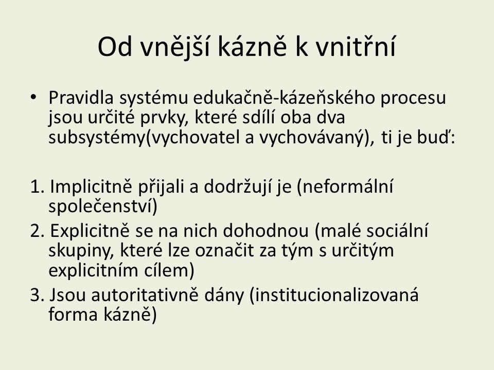 Od vnější kázně k vnitřní Pravidla systému edukačně-kázeňského procesu jsou určité prvky, které sdílí oba dva subsystémy(vychovatel a vychovávaný), ti je buď: 1.
