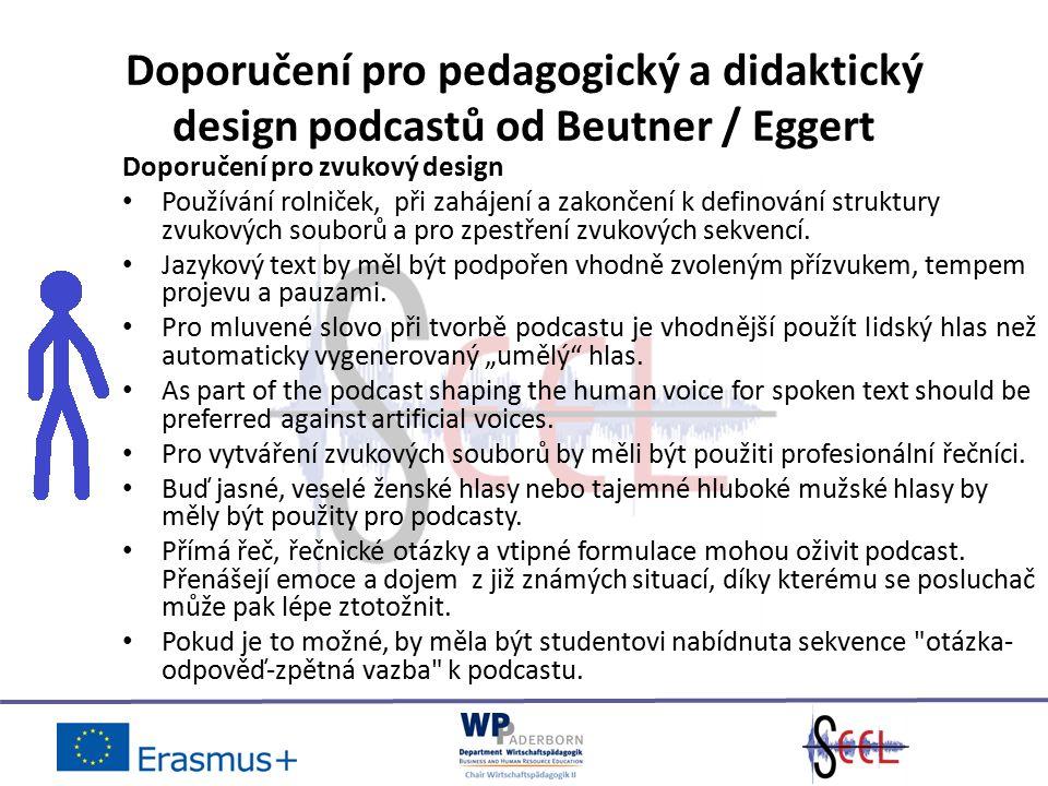 Doporučení pro pedagogický a didaktický design podcastů od Beutner / Eggert Doporučení pro zvukový design Používání rolniček, při zahájení a zakončení k definování struktury zvukových souborů a pro zpestření zvukových sekvencí.