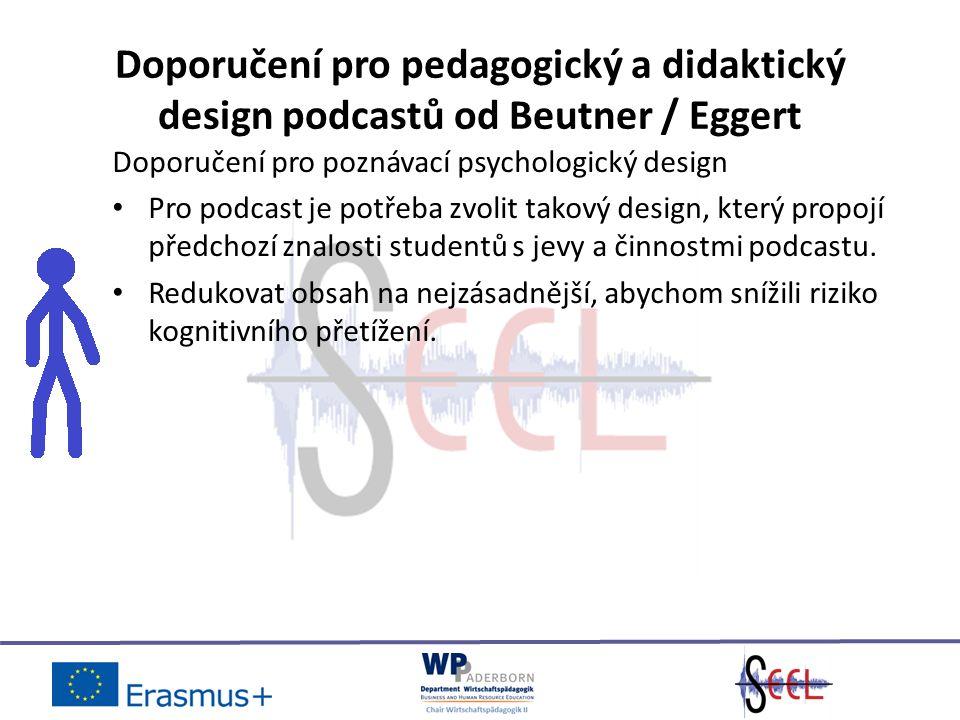 Doporučení pro pedagogický a didaktický design podcastů od Beutner / Eggert Doporučení pro poznávací psychologický design Pro podcast je potřeba zvolit takový design, který propojí předchozí znalosti studentů s jevy a činnostmi podcastu.