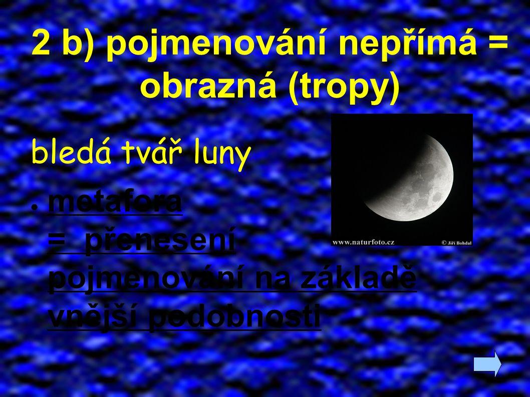 2 b) pojmenování nepřímá = obrazná (tropy) bledá tvář luny ● metafora = přenesení pojmenování na základě vnější podobnosti