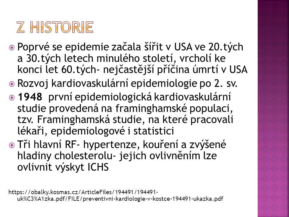  Poprvé se epidemie začala šířit v USA ve 20.tých a 30.tých letech minulého století, vrcholí ke konci let 60.tých- nejčastější příčina úmrtí v USA  Rozvoj kardiovaskulární epidemiologie po 2.