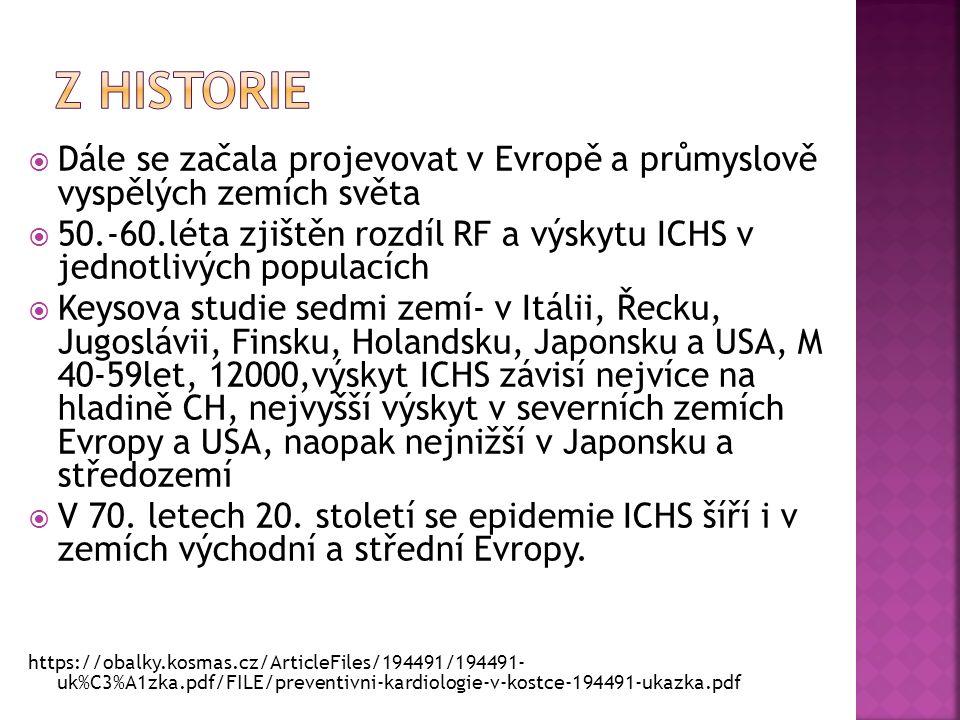  Dále se začala projevovat v Evropě a průmyslově vyspělých zemích světa  50.-60.léta zjištěn rozdíl RF a výskytu ICHS v jednotlivých populacích  Ke