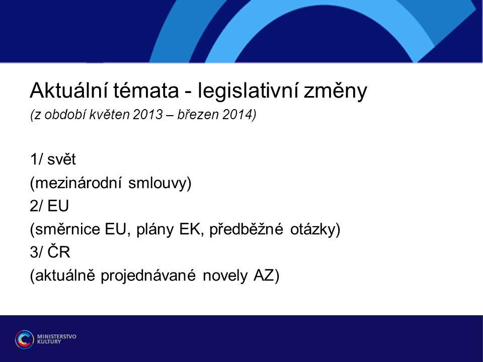Aktuální témata - legislativní změny (z období květen 2013 – březen 2014) 1/ svět (mezinárodní smlouvy) 2/ EU (směrnice EU, plány EK, předběžné otázky) 3/ ČR (aktuálně projednávané novely AZ)