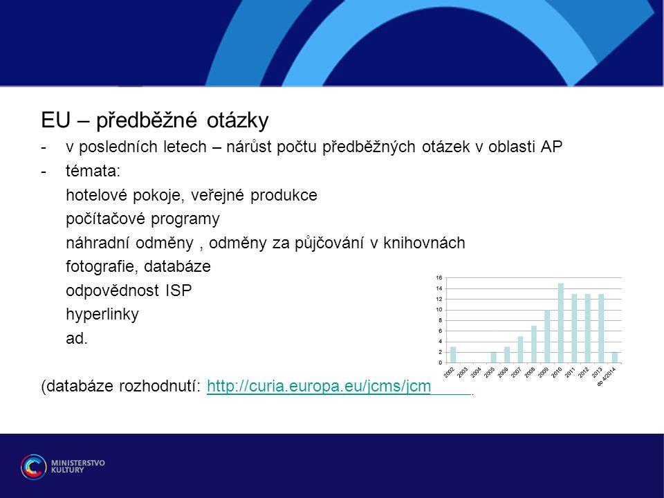 EU – předběžné otázky -v posledních letech – nárůst počtu předběžných otázek v oblasti AP -témata: hotelové pokoje, veřejné produkce počítačové programy náhradní odměny, odměny za půjčování v knihovnách fotografie, databáze odpovědnost ISP hyperlinky ad.