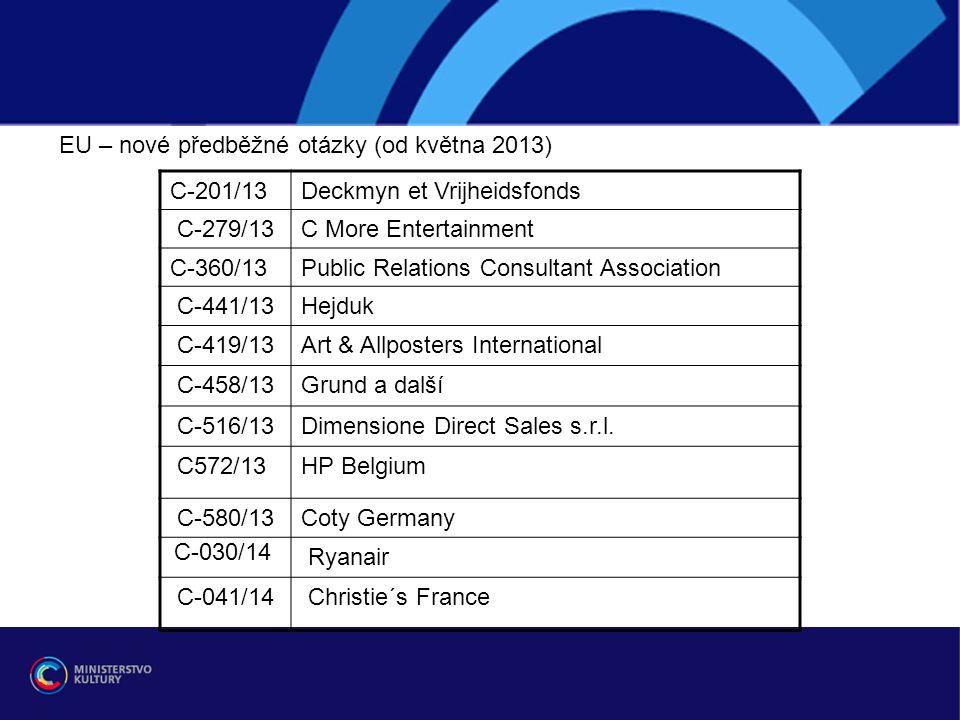 EU – nové předběžné otázky (od května 2013) C-201/13Deckmyn et Vrijheidsfonds C-279/13C More Entertainment C-360/13Public Relations Consultant Association C-441/13Hejduk C-419/13Art & Allposters International C-458/13Grund a další C-516/13Dimensione Direct Sales s.r.l.