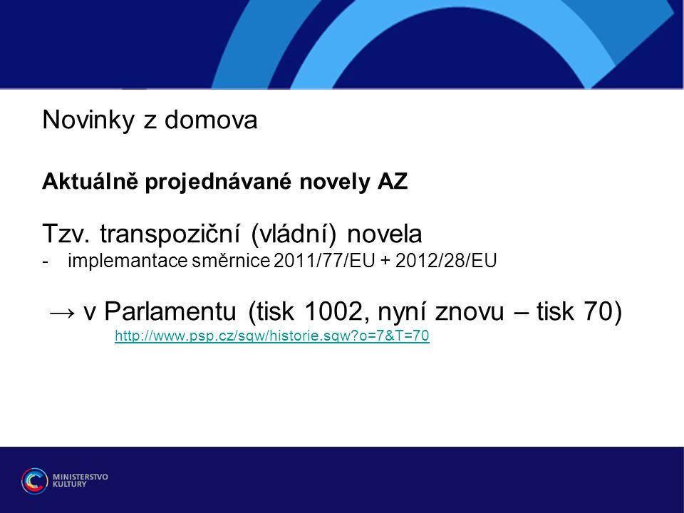 Novinky z domova Aktuálně projednávané novely AZ Tzv.