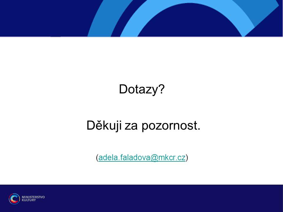 Dotazy Děkuji za pozornost. (adela.faladova@mkcr.cz)adela.faladova@mkcr.cz