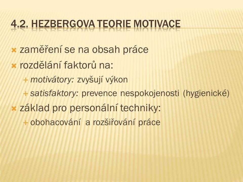  zaměření se na obsah práce  rozdělání faktorů na:  motivátory: zvyšují výkon  satisfaktory: prevence nespokojenosti (hygienické)  základ pro personální techniky:  obohacování a rozšiřování práce